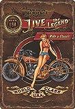Nostalgie Blech Schild mit Motorrad Motiv Live the Legend - ride a Classic