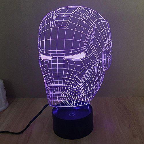(Iron Man Illusion 3D Lampen Buntes Dimmen LED Nachtlicht Touch-Schalter Schlafzimmer Beleuchtung für Kinder Geschenke Haus Dekoration Weihnachtsbeleuchtung)