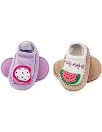 13e180f8ccf3 La haute Chaussures 2 paires de chaussettes pour bébé antidérapant  Intérieur Chaussons mignon Dessin animé nouveau