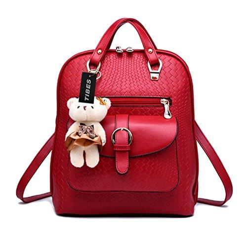 Imagen de tibes bolsa mujer mini  impermeable  de cuero  de estudiante vino rojo vino rojo