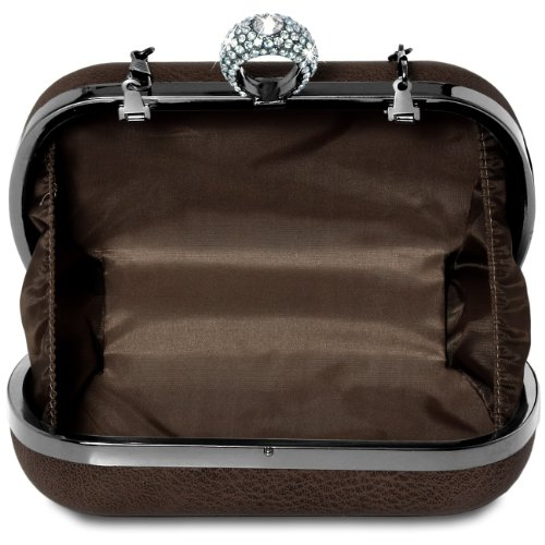 CASPAR Damen Box Clutch / Abendtasche mit strassbesetztem Ring - viele Farben dunkelbraun