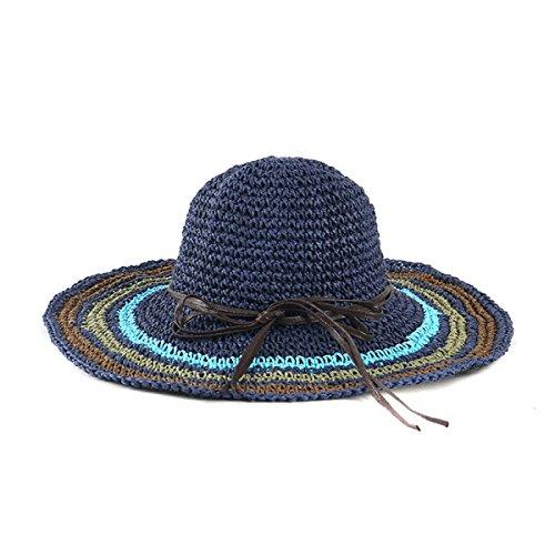 Mme été Couleur Crochet Main Chapeau Rond Chapeau Voyage Chapeau De Plage De Sable DarkBlue