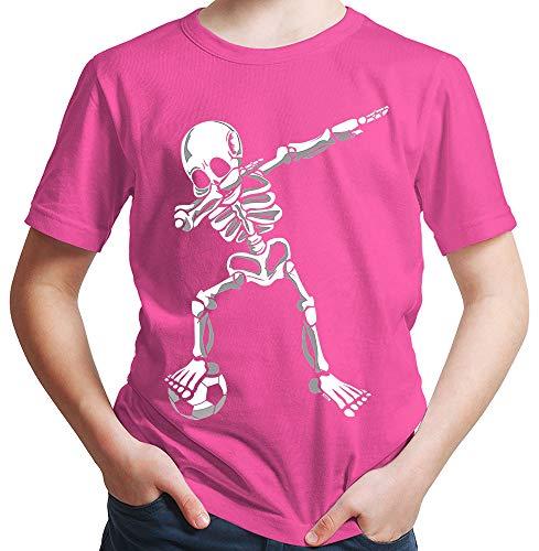 HARIZ  Jungen T-Shirt Dab Skelett mit Fussball Dab Teenager Dance Weihnachten Plus Geschenkkarten Pink 140/9-11 Jahre