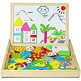 Magnetisches Holzpuzzle | Holzpuzzle Baby | Lernspielzeug | Geschenk für Kinder Jungen Mädchen | Magnet Kinderspielzeug | Doppelseitige Hölzerne Magnettafel Helle Farbenformen Puzzlespielkarten für Kinder 3 4 5 Jahre