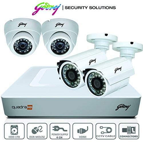 Godrej High Defination 720P Full CCTV Camera KIT with 1MP 2Dome camera + 1MP 2bullet camera + 4 Ch DVR + Power supply + 1 TB Hard disk(WD/Seagate) + BNC & DC Connectors + HDMI Cable + Ethernet Cable + 90 meter cable + Adapter  available at amazon for Rs.14999
