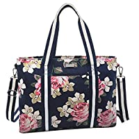 MOSISO Laptop Tote Bag (Up to 17.3 Inch),Canvas Classic Multifunctional Work Travel Shopping Duffel Carrying Shoulder Handbag Compatible Notebook, MacBook, Ultrabook and Chromebook,Dark Blue Base Rose