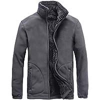 TWBB Herren Verdicken Wintermantel Outwear Einfarbig Jacke mit Fleecefutter Slim Fit Vintage Klassisch Jacket Windbreaker
