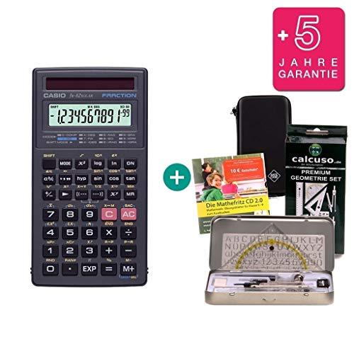 Casio Streberpaket FX-82 Solar + Schutztasche + Lern-CD (auf Deutsch) + Geometrie-Set + Erweiterte Garantie