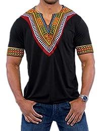 LHWY Shirt Herren, Männer Sweatshirt Mode Lässig Afrikanischen Print O Neck  Pullover Langärmelige T-Shirt Top Kurzarm Schwarz Weiß… b98740ef72