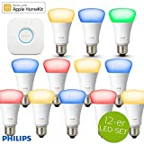 Philips Hue White Ambiance and Color RGBW LED E27 10 W - 3er Starterkit mit Bridge + 9x Erweiterung = 12 LED, app-gesteuert, dimmbar, 16 Mio Farben