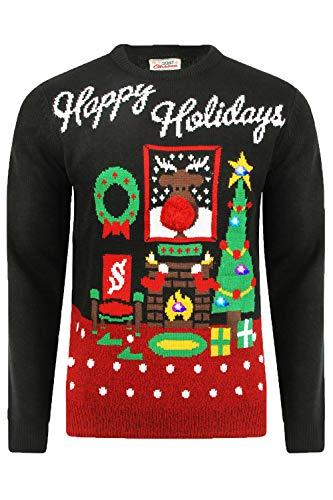 Jersey de punto para adultos con motivos de Navidad de hombre y mujer de color negro, talla S y 96 cm de contorno de pecho