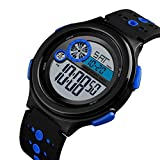 ZHAOKL Herren Digitaluhr,Blue Men Sportuhren Jungen Fashion Casual wasserdichte Digitale Chronograph Countdown Led Elektronik Student Multifunktions Armbanduhren -