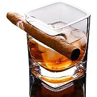Vaso de whisky, 280 ml de vino con soporte para cigarrillos cristal licor cristal cuadrado