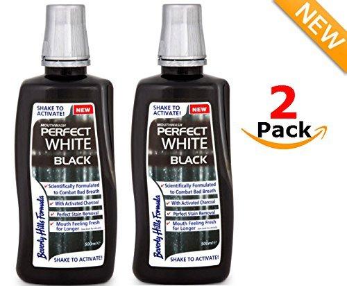 2 x Beverly Hills Formula PERFECT WHITE BLACK Mundwasser 500 ml - mit Aktivkohle - weisse Zähne - Zahn-Aufhellung - Bleaching