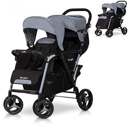 FUSION Zwillinge Geschwisterkinderwagen Baby Buggy Sportwagen klappbar und Liegeposition - Grau GREY FOX