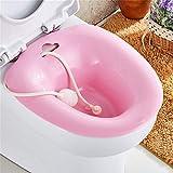 Sitz bagni con il flusher, sopra la toilette evitare lo squat, adatto per i pazienti con emorroidi e in gravidanza, in gravidanza, i pazienti post-episiotomia,Pink