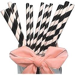 BOFA colorido rayas papel pajitas rayas 19,7cm, color negro (100unidades)
