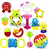 Vibgyor Vibes™ Lovely Mixed Attractive Colourful Non Toxic Rattles for Babies, Toddlers, Infants, Child . Set Of 12