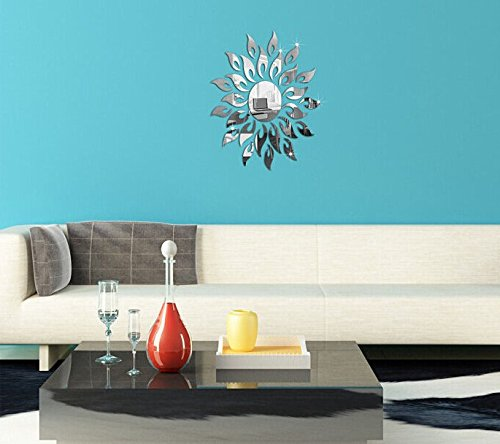 QXTIE 3D dreidimensionale Wandaufkleber Kreative Acryl Spiegel Sonnenblumen Wohnzimmer dekorative Wandaufkleber Schlafzimmer, Silver Mirror - Sonnenblume Bubble