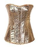 jeansian Damen New Fashion Korsett Korsage Shapewear Kleid Hemd Tops WSL023 Gold XXXXL
