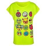 Kinder Mädchen T-shirt Emoji Emotionen Aufdruck Stylisch Modisch Top 122 128 134 140 11 12 13 Jahre - Neongelb, 11-12 Years