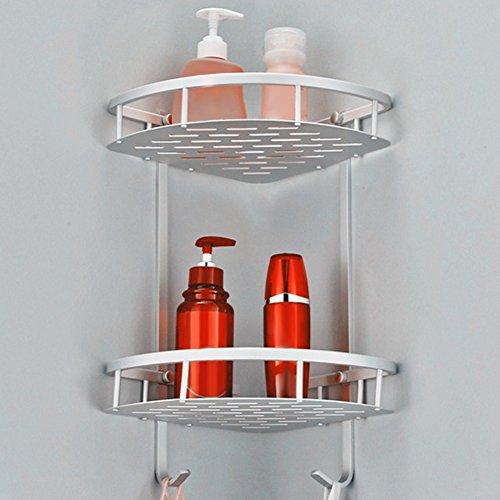 FADDR 2-Tier-Eck-Duschregal, Aluminium-Badregal-Korb-Wandregal-Lagerung für Shampoo-Seifen-kosmetische Regale mit 2 Haken(wie Gezeigt) -