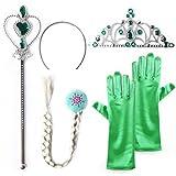 Eiskönigin ELSA und Anna - Set aus Diadem, Handschuhe, Zauberstab, Zopf - für Karneval, Fasching, Geburtstag, Party, Verkleidung - Königin Unverfroren