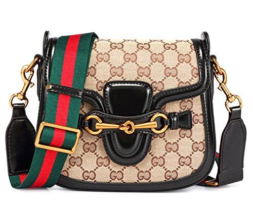 Xinmaoyuan Borse donna borsette in cuoio sella retrò borsa borse a tracolla in tela Messenger Piccola Piazza Borsa Nero