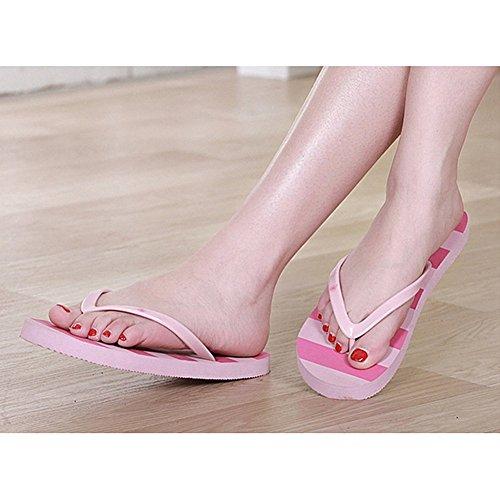 Per donna in PVC, con chiusura Flip, per Sandali estivi da spiaggia Rosa (rosa)