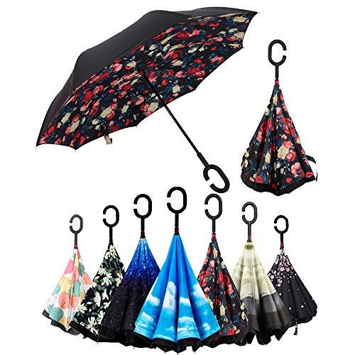 Paraguas Invertido,Plegable,reversible,con mango forma