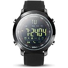 Diggro DI04 reloj inteligente IP68 impermeable Smartwatch 5ATM pedómetro mensaje recordatorio 8 meses de tiempo de espera larga al aire libre para Android IOS (negro, negro)