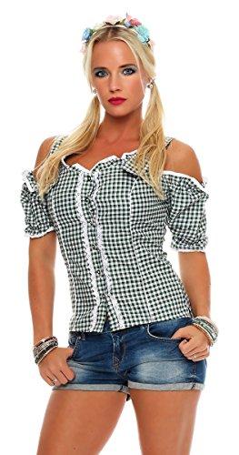 Fashion4Young Dirndlbluse Bluse Trachtenbluse Trachten Oktoberfest Lederhose Trachtenmieder Grün