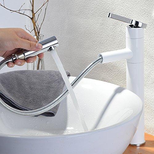 Homelody - Waschtisch-Einhebelarmatur, herausziehbarer Brausekopf, hoher Auslauf, Weiß-Chrom
