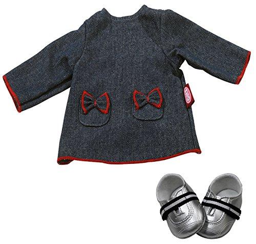 Götz 3402994 Kombination Denim - Puppenbekleidung-Set Gr. M - 3-teiliges Bekleidungs- und Zubehörset für Babypuppen von 42 - 46 cm