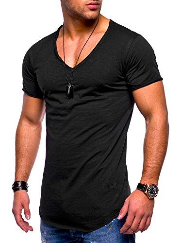 MT Styles Herren Oversize T-Shirt V-Neck Sweatshirt MT-7102 [Schwarz, S] (V-pullover De)