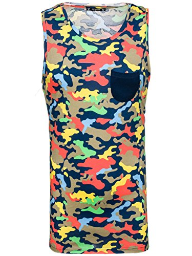 BOLF Herren Tanktop T-Shirt Tee Ärmellos Motiv Classic Army Kurzarm 3C3 Camo Beige