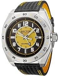 Sector - R3251660075 - Race GMT - Montre Homme - Quartz Analogique - Dateur - Bracelet En Kevlar Surpiqures Jaunes