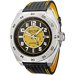 Sector Race Men's Watch Analogue Quartz GMT with Date Indicator, Kevlar Strap with Yellow Top Stitching - R3251660075