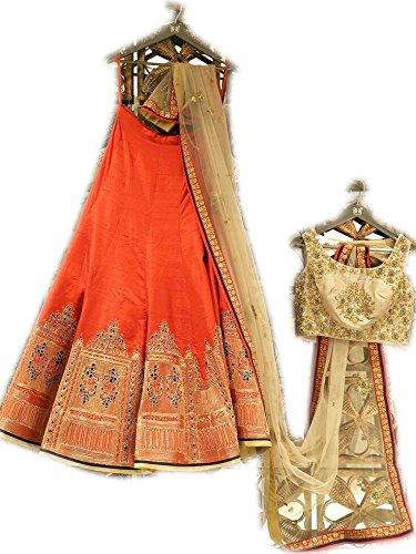 Bhanderi enterprise Orange color benglori silk lehenga choli