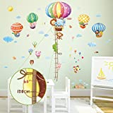 Decowall DM-1606P1406B Gráfica de Altura de Globos Aerostáticos de Animales Vinilo Pegatinas Decorativas Adhesiva Pared Dormitorio Salón Guardería Habitación Infantiles Niños Bebés