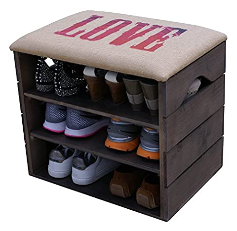 LIZA Shoes Bench (TAUPE) - Premium Vintage Wooden Shoes Organiser,