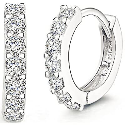 ANDI ROSE Jewellers 925 Sterling Silver Rhinestones Hoop Stud Earrings for Women : everything 5 pounds (or less!)