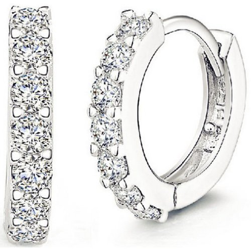 ANDI ROSE Jewellers 925 Sterling Silver Rhinestones Hoop Stud Earrings for Women (1061 Silver)