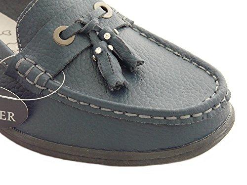 Scarpe da Donna in Pelle, Mocassini de Donna, Scarpe Senza Lacci, Scarpe Comode Blu