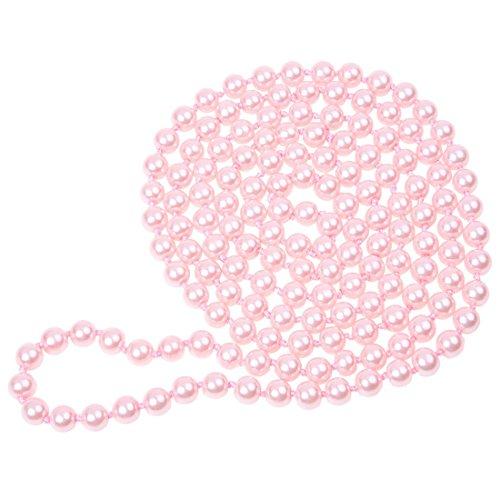 REFURBISHHOUSE Rosa Damen Glasperlen Dekor Rundes Korn Strickjacke Halskette 5ft Lang -