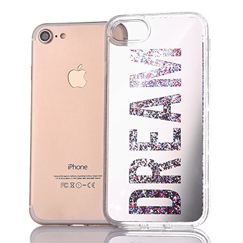 Copertura per iPhone 7 Specchio, iPhone 7 Custodia TPU Silicone,Case Cover per iPhone 7 in 3D Trasparente,Ukayfe Oro Mirror Specchio Flowing Sparkles Shinny Glitter Scintillio Bling Stars Polvere Anti Dream-Angento