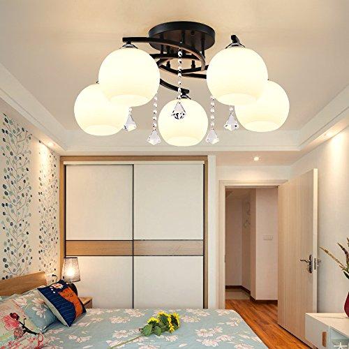Kristall Neun Licht (SUHANG Kronleuchter Kristall Lampe Wohnzimmer Lampe An Der Decke Licht Eisen Crystal Minimalistischen Schlafzimmer, 9 Kopf, Warmes Licht)