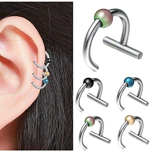 Anker Post Kit (EVBEA Knorpel-Ohrringe, 16 g, 10 mm, 4 Stück Septum Schmuck, Helix Daith Ohrringe, Chirurgenstahl)