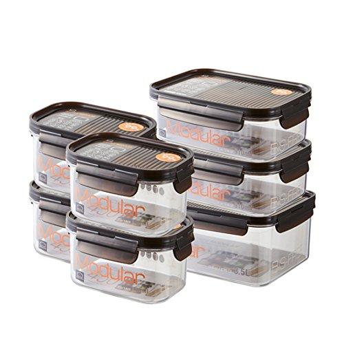 Lock & lock contenitori per alimenti in vetro bisfree - vaschette porta cibo con coperchio - per forno microonde frigo e freezer - no bpa, set di 7