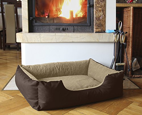 BedDog Hundebett LUPI / Hundesofa aus Cordura & Microfaser-Velours / waschbares Hundebett mit Rand / Hundekissen vier-eckig / für drinnen & draußen / XL / MELANGE / braun-beige 4 Beige Körbe